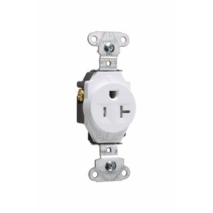 Pass & Seymour TR5351-W Tamper Resistant Single Receptacle, 20A, 125V, White