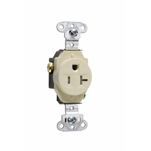 Pass & Seymour TR5351-I Tamper Resistant Single Receptacle, 20A, 125V, Ivory