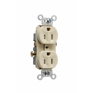 Pass & Seymour TR15-I Tamper Resistant Duplex Receptacle, 15A, 125V, Ivory, 5-15R