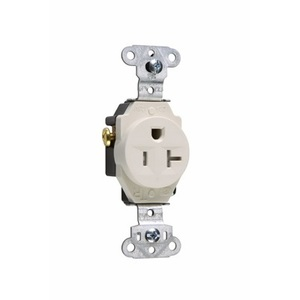 Pass & Seymour TR5351-LA Tamper Resistant Single Receptacle, 20A, 125V, Light Almond