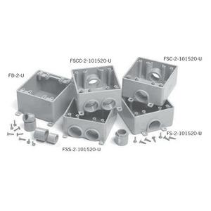 "Ipex 077368 PVC Box, 2-Gang, 1/2 - 3/4"" Hubs, Depth: 2-1/2"", FSC Style"