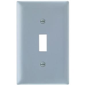 Pass & Seymour TP1-GRY Toggle Switch Wallplate, 1-Gang, Nylon, Gray