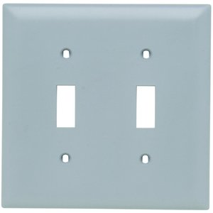 Pass & Seymour TP2-GRY Toggle Switch Wallplate, 2-Gang, Nylon, Gray