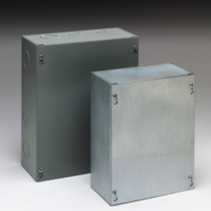 "Eaton B-Line 12124-SC Enclosure, NEMA 1, Screw Cover, 12"" x 12"" x 4"", KO, Steel"