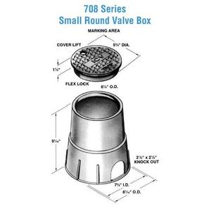 "Oldcastle Precast 0708-9-BLK-GRN-ELECTRIC Round Pull Box, Diameter: 6-1/8"", Depth: 8-3/4"", Polyethylene"