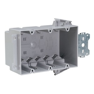 "Pass & Seymour S3-54-S50AC Switch/Outlet Box with Bracket, Depth: 3"", 3-Gang, Non-Metallic"