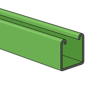 "Power-Strut PS200-10GR Channel - No Holes, Steel, Green, 1-5/8"" x 1-5/8"" x 10'"