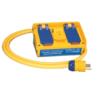 Ericson 1060 Multiple Outlet GFCI, Jobsite Rated, 15A, 120V, Yellow, 2-Outlets