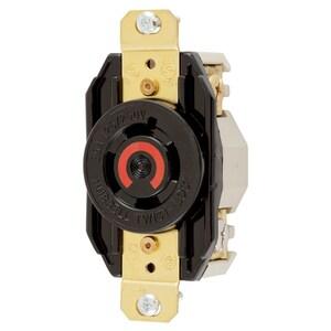 Hubbell-Kellems HBL2410 Twist-Lock, Single Flush Receptacle, 20A, Black
