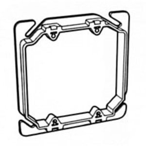 "Pass & Seymour RC-2 4"" Square Box Device Ring, 2-Gang, 3/8"" Raised, Non-Metallic"