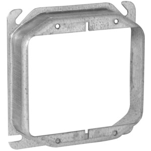 "Appleton 8470A 4"" Square Cover, 2-Device, Mud Ring, 1/2"" Raised, Drawn, Metallic"