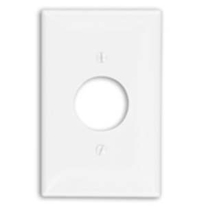 "Leviton PJ7-W Single Receptacle Wallplate, 1-Gang, 1.406"" Hole, Nylon, White, Midway"