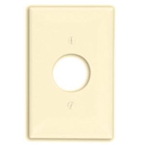 "Leviton PJ7-I Single Receptacle Wallplate, 1-Gang, 1.406"" Hole, Nylon, Ivory, Midway"