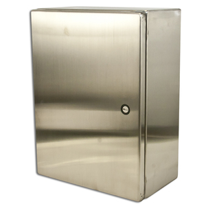 "Hoffman CSD12126SS Enclosure, NEMA 4X, Hinged Cover, Stainless Steel, 12"" x 12"" x 6"""