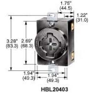 Hubbell-Kellems HBL20403 3P4W, 30A 600V AC Max, Black Phenolic