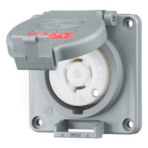 Hubbell-Kellems HBL2430SW Watertight Locking Receptacle, 20A, 3PH Delta 480V, L16-20R