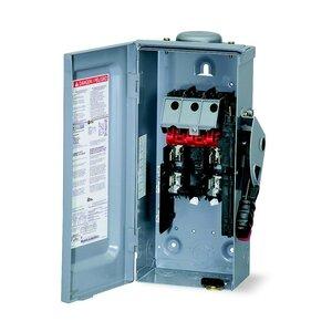 Square D H221NRB Disconnect Switch, Fused, NEMA 3R, 30 Amp, 2-Pole, 240 Volt AC, Neutral