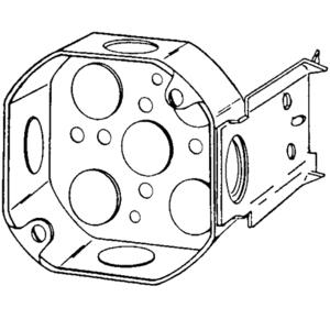 "Appleton 4OJB-1/2 4"" Octagon Box, 1-1/2"" Deep, 1/2"" KOs, Drawn, Steel"