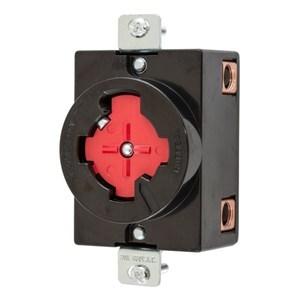 Hubbell-Kellems HBL20443 3P4W, 30A 480V AC, Black Phenolic, Red Center Insert