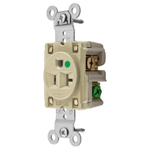 Hubbell-Wiring Kellems HBL8310I Hospital Grade Single Receptacle, 20A, 125V, 5-20R, Ivory