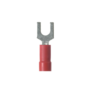 Panduit PN18-10F-C Fork Terminal, Nylon Insulated, 22-18 AWG, #10 Bolt, Red