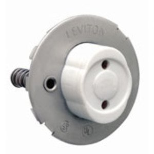 Leviton 13518 Fluorescent Lampholder, Medium Base, Snap-In, Plunger, White