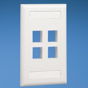 Panduit NK4FWHY Wallplate, 4-Port, 1-Gang, NetKey, Rear Load, Flush, White
