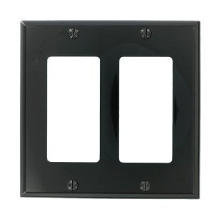 Leviton 80409-NE Decora Wallplate, 2-Gang, Nylon, Black