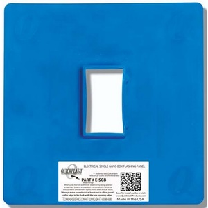"Quickflash E-SGB Flashing Panel, 1-Gang, Size: 2 x 3.5"", Blue, Non-Metallic"
