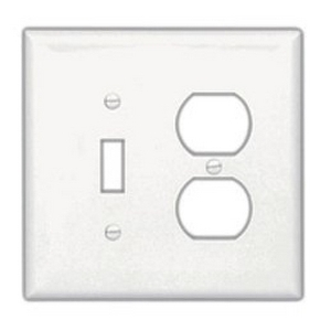 Cooper Wiring Devices PJ18BK Wallplate 2G Toggle/Duplex Poly Mid BK