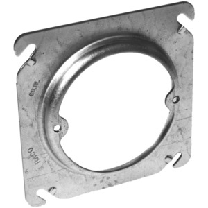 "Appleton 8461A 4"" Square Fixture Cover, Mud Ring, 1/2"" Raised, Drawn, Metallic"