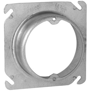 "Appleton 8461 4"" Square Fixture Cover, Mud Ring, 5/8"" Raised, Drawn, Metallic"