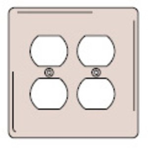 Hubbell-Wiring Kellems NPJ82W Duplex Receptacle Wallplate, 2-Gang, Nylon, White, Midway
