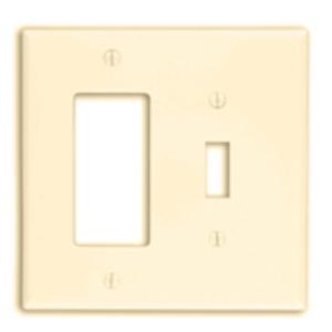 Leviton PJ126-I Combo Wallplate, 2-Gang, Toggle/Decora, Nylon, Ivory, Midway