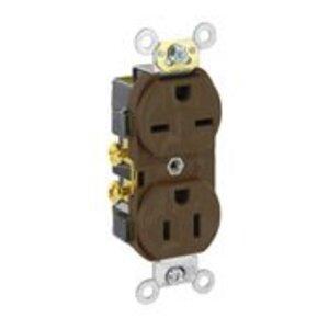 Leviton 5031 15A Dual Voltage Duplex Receptacle, 125/250V, Brown, Self-Grounding