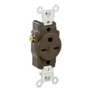 Leviton 5029 15 Amp Single Receptacle, 250V, 6-15R, Brown, Commercial Grade