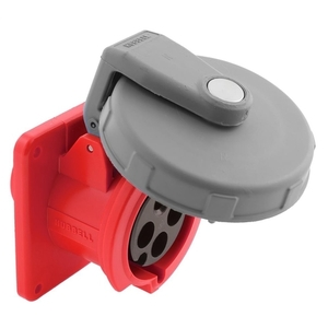 Hubbell-Kellems HBL420R7W Pin & Sleeve Receptacle, 20A, 3PH Delta 480V, 3P4W, Red