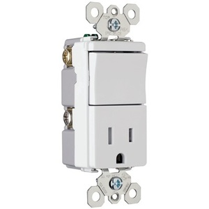 Pass & Seymour TM818-TRWCC Switch / Receptacle Combo, 15A, White