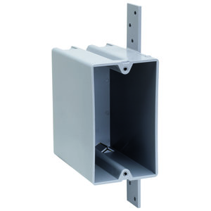 "Pass & Seymour P1-22-N Switch/Outlet Box, 1-Gang, Bracket, 3.375"" Deep, Non-Metallic"