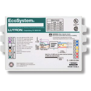 Lutron EC3DT4MWKU2S Dimming Ballast, Compact Fluorescent, 2-Lamp, 26W, 120-277V
