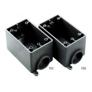 "Ipex FDS20 FD Device Box, 1-Gang, 1"" Hubs, Dead-End, Non-Metallic"