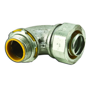 """Cooper Crouse-Hinds LTB10090 Liquidtight Connector, Insulated, 90°, Size: 1"""", Malleable Iron"""