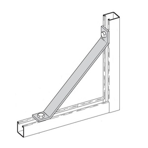 "Cooper B-Line B261-24ZN Bracket, 45°, 2-Hole, Length: 24"", Steel/Zinc"