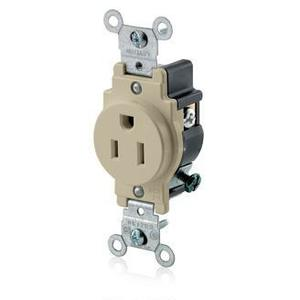 Leviton 5015-I 15 Amp Single Receptacle, 125V, 5-15R, Ivory, Commercial Grade