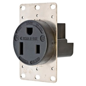 Hubbell-Kellems HBL9367 Single Receptacle, Straight Blade, 50A
