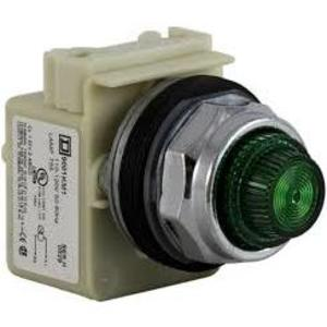 Square D 9001KP1G31 Pilot Light, 120VAC, 30mm, Round Green Lens, 755 Lamp, Chrome Bezel