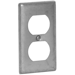 Hubbell-Raco 864 Handy Box Cover, Type: (1) Duplex Receptacle, Drawn, Metallic