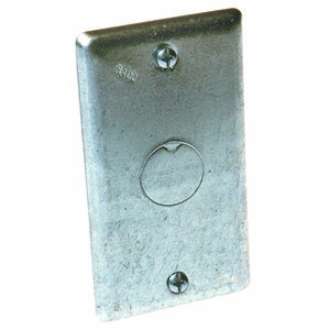 "Hubbell-Raco 861 Handy Box Cover, Type: Blank with 1/2"" Knockout, Drawn, Metallic"