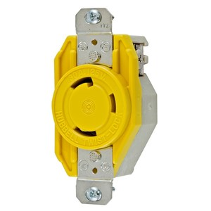 Hubbell-Wiring Kellems HBL26CM10 Locking Single Receptacle, 30A, 125V, 2P3W, Marine