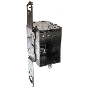 "Hubbell-Raco 574 Switch Box, 2-3/4"" Deep, AC/MC Clamps, TS Bracket"